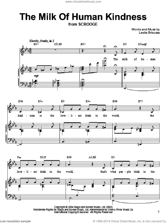 The Milk Of Human Kindness sheet music for voice, piano or guitar by Leslie Bricusse. Score Image Preview.