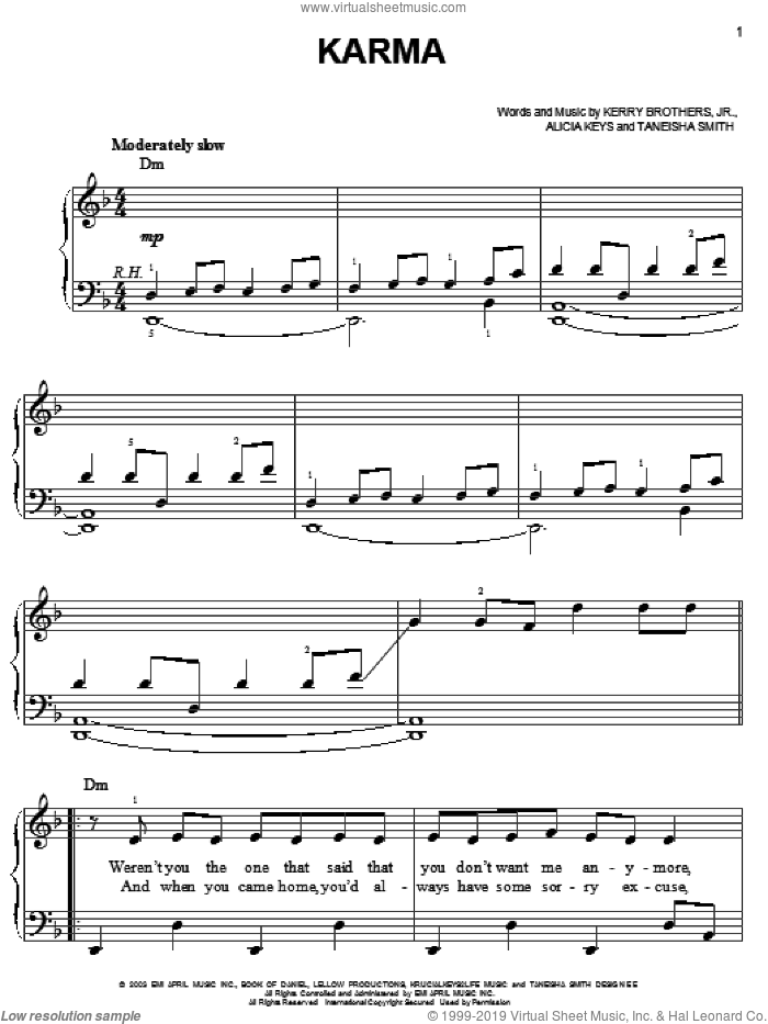 Karma sheet music for piano solo by Alicia Keys, Kerry Brothers and Taneisha Smith, easy skill level