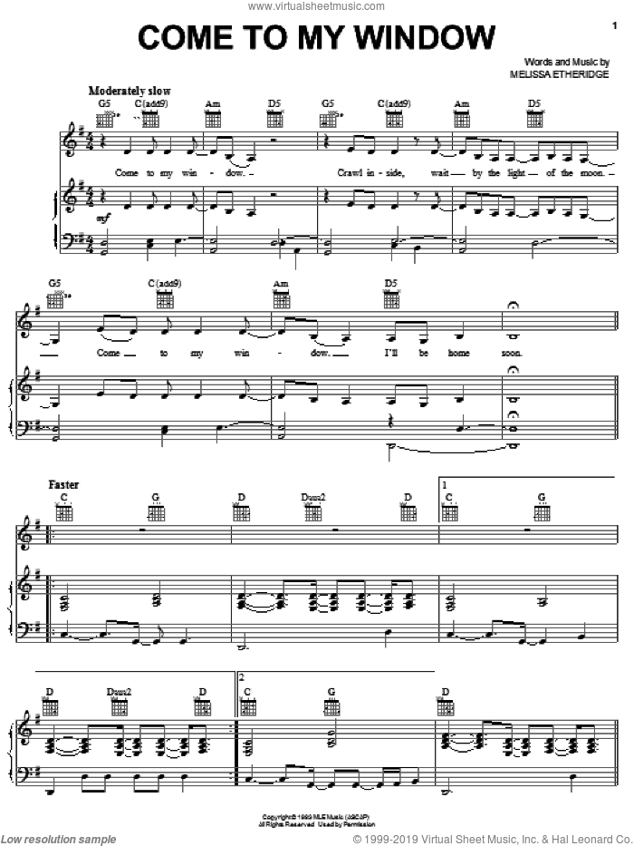 Come To My Window sheet music for voice, piano or guitar by Melissa Etheridge, intermediate skill level