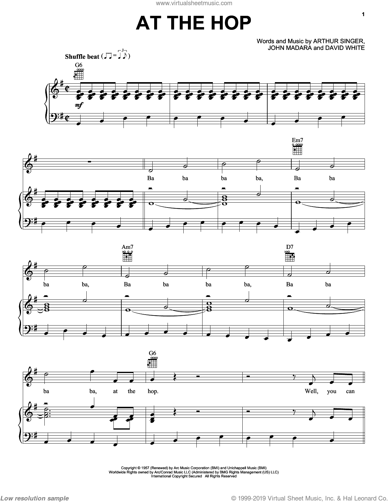At The Hop sheet music for voice, piano or guitar by Danny & The Juniors, Arthur Singer, David White and John Madara, intermediate skill level