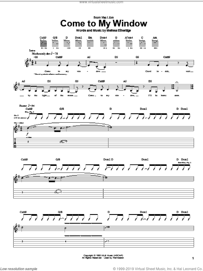 Come To My Window sheet music for guitar (tablature) by Melissa Etheridge. Score Image Preview.