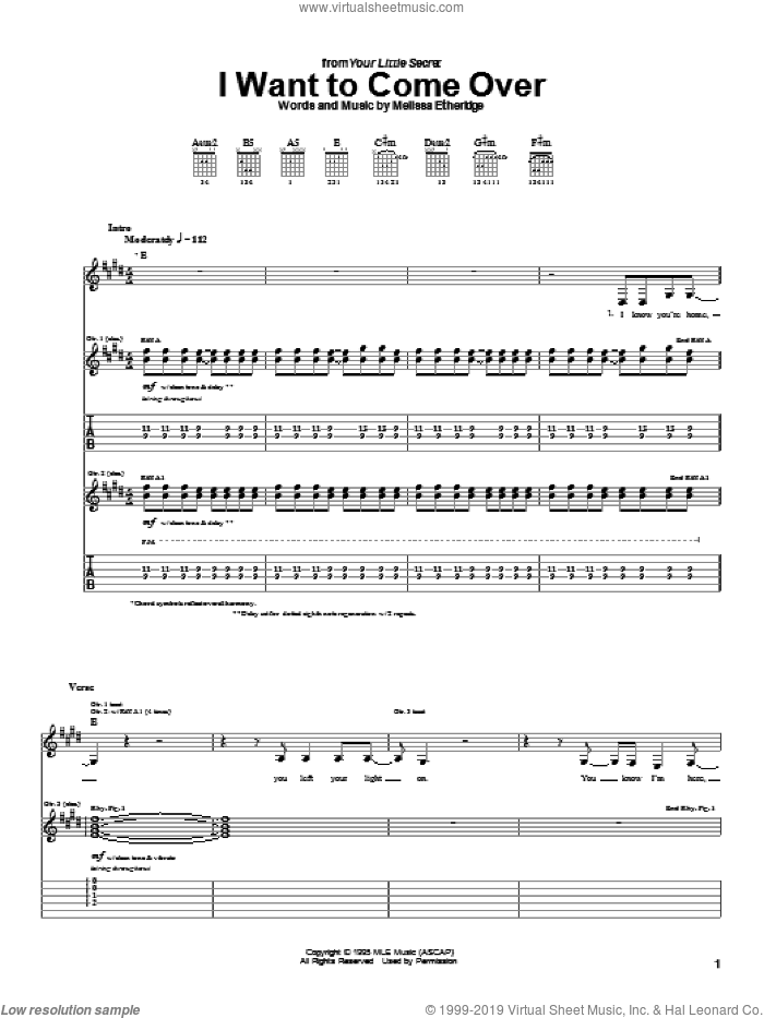 I Want To Come Over sheet music for guitar (tablature) by Melissa Etheridge. Score Image Preview.