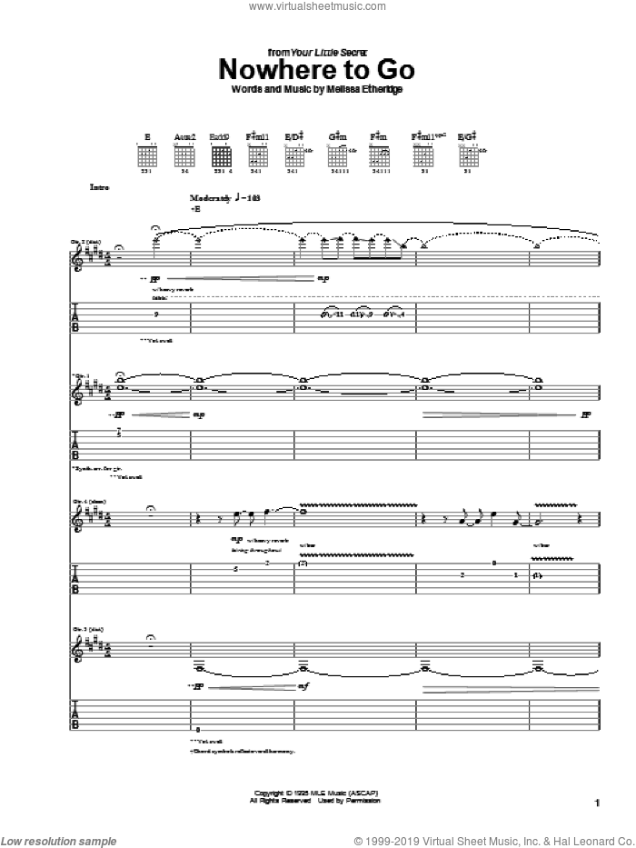 Nowhere To Go sheet music for guitar (tablature) by Melissa Etheridge, intermediate. Score Image Preview.