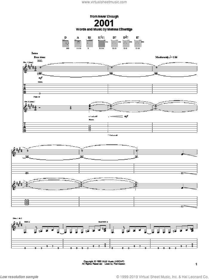 2001 sheet music for guitar (tablature) by Melissa Etheridge. Score Image Preview.