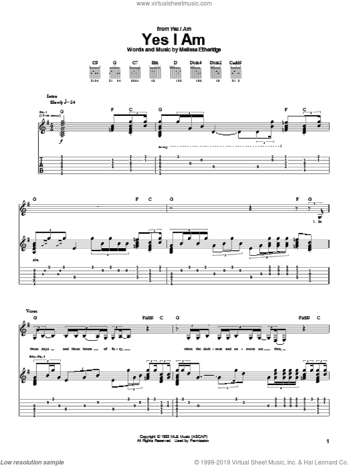 Yes I Am sheet music for guitar (tablature) by Melissa Etheridge, intermediate. Score Image Preview.