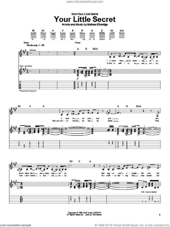 Your Little Secret sheet music for guitar (tablature) by Melissa Etheridge, intermediate. Score Image Preview.