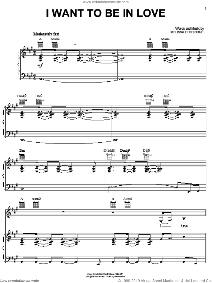 I Want To Be In Love sheet music for voice, piano or guitar by Melissa Etheridge, intermediate skill level