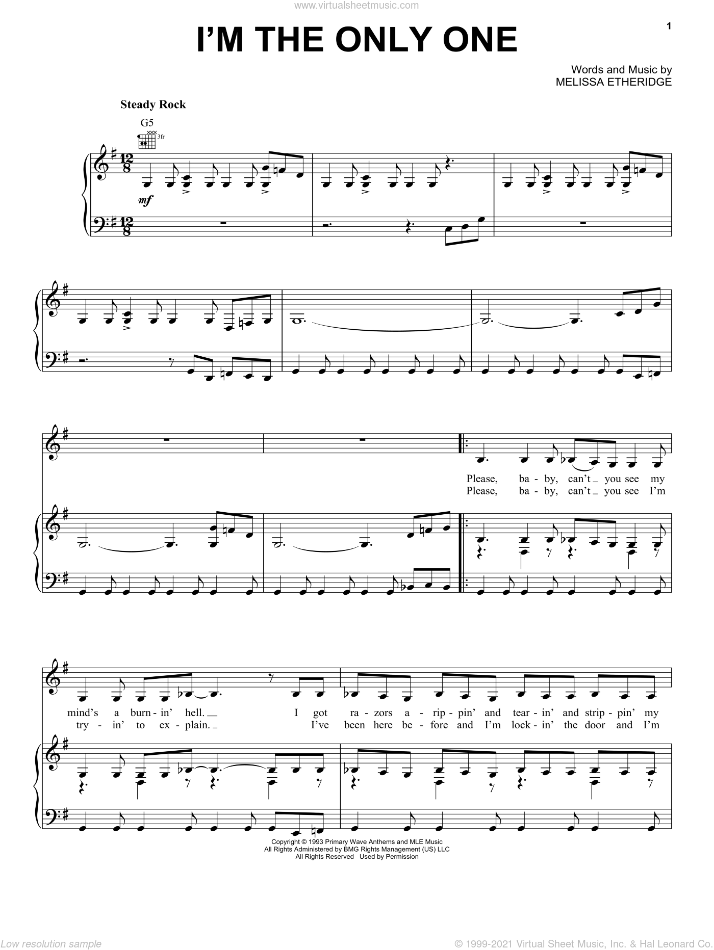 I'm The Only One sheet music for voice, piano or guitar by Melissa Etheridge. Score Image Preview.