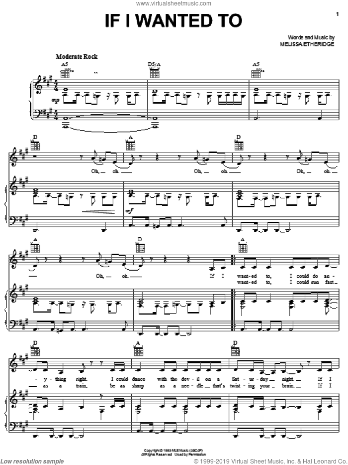 If I Wanted To sheet music for voice, piano or guitar by Melissa Etheridge, intermediate. Score Image Preview.