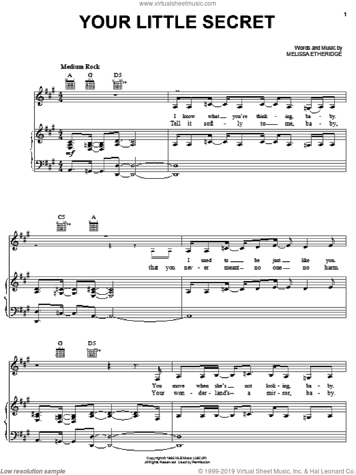 Your Little Secret sheet music for voice, piano or guitar by Melissa Etheridge. Score Image Preview.