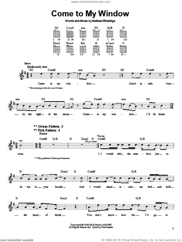 Come To My Window sheet music for guitar solo (chords) by Melissa Etheridge. Score Image Preview.