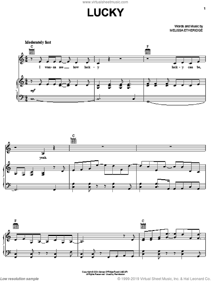 Lucky sheet music for voice, piano or guitar by Melissa Etheridge, intermediate. Score Image Preview.