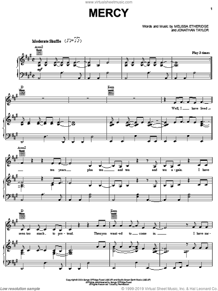 Mercy sheet music for voice, piano or guitar by Melissa Etheridge. Score Image Preview.