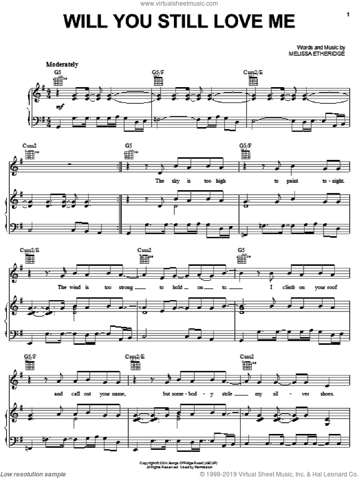 Will You Still Love Me sheet music for voice, piano or guitar by Melissa Etheridge, intermediate voice, piano or guitar. Score Image Preview.