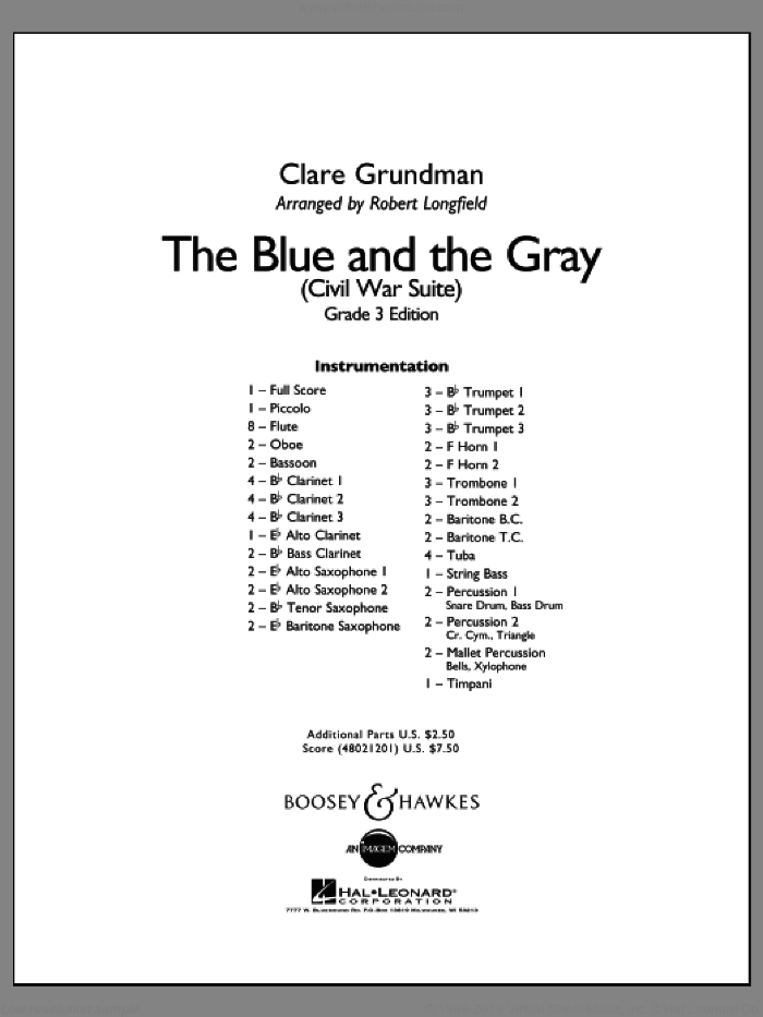The Blue And The Gray (Young Band Edition) sheet music for concert band (full score) by Clare Grundman