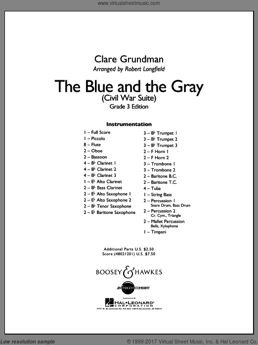 The Blue And The Gray (Young Band Edition) (COMPLETE) sheet music for concert band by Clare Grundman
