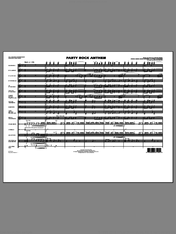 Party Rock Anthem, complete set of parts (COMPLETE) sheet music for marching band by David Listenbee, Michael Brown and Stefan Gordy. Score Image Preview.