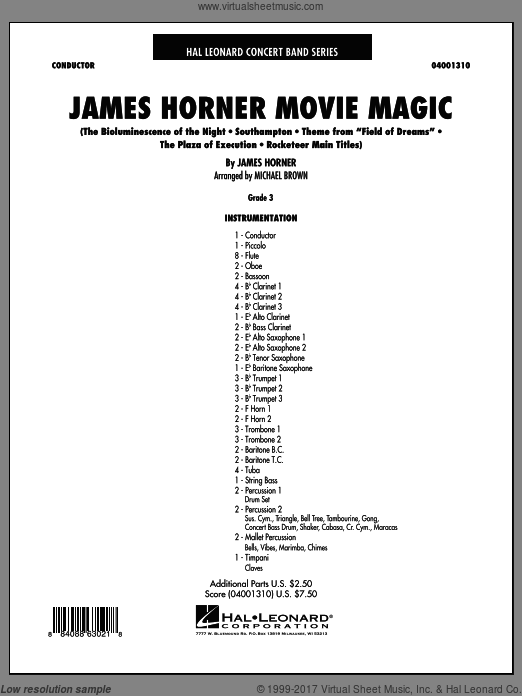 James Horner Movie Magic (COMPLETE) sheet music for concert band by James Horner