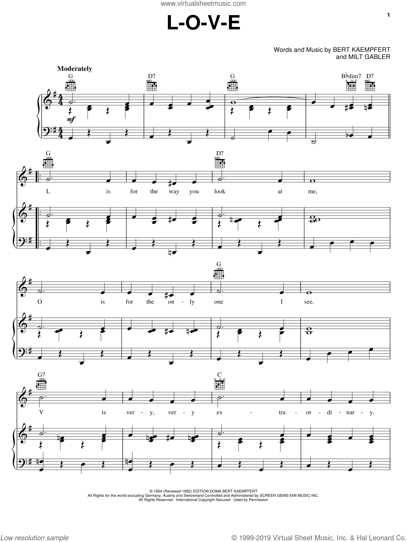 L-O-V-E sheet music for voice, piano or guitar by Nat King Cole, Natalie Cole, Peggy Lee, Wayne Newton, Bert Kaempfert and Milt Gabler, wedding score, intermediate skill level