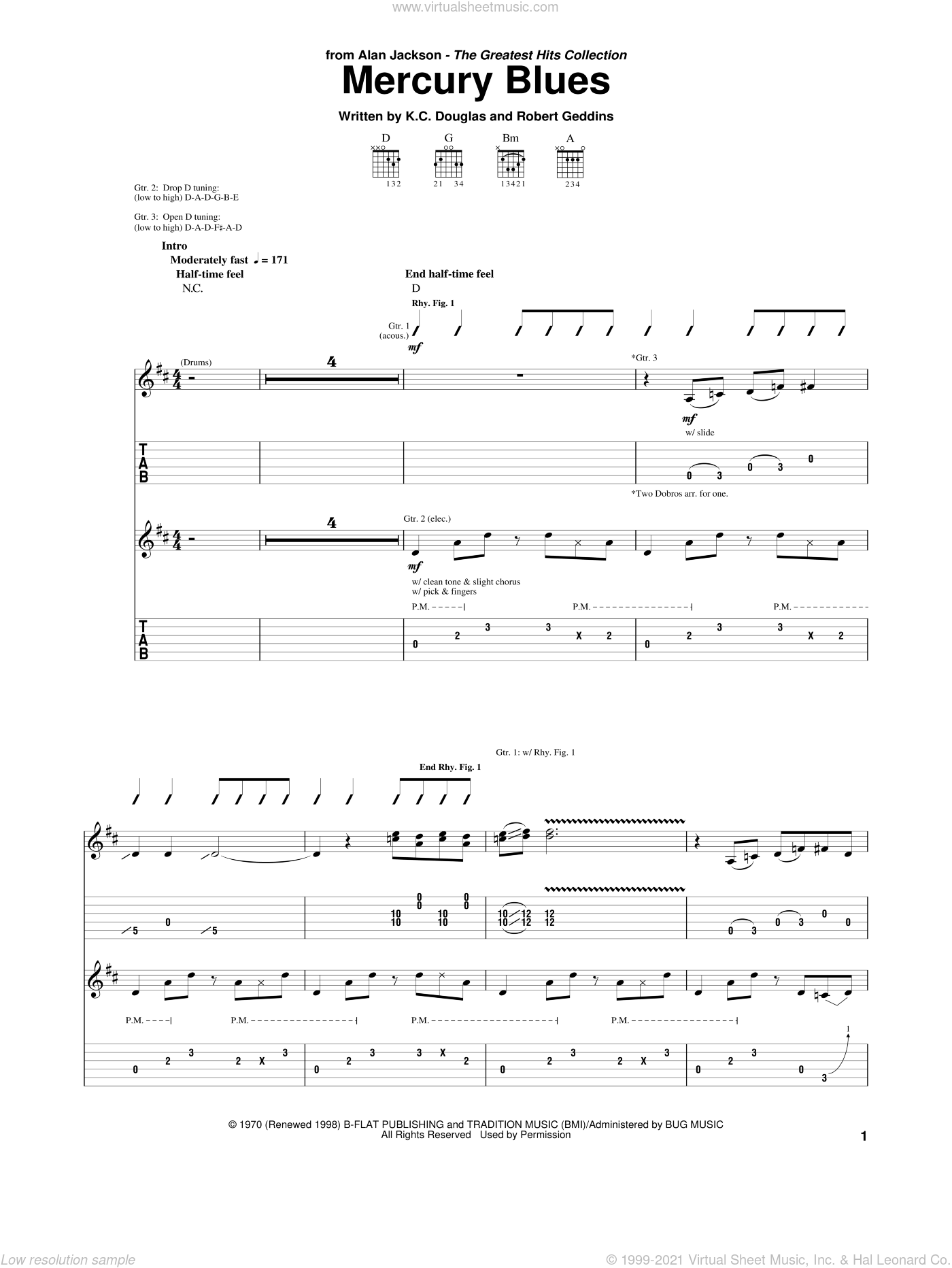 Mercury Blues sheet music for guitar (tablature) by Alan Jackson and Robert Geddins. Score Image Preview.
