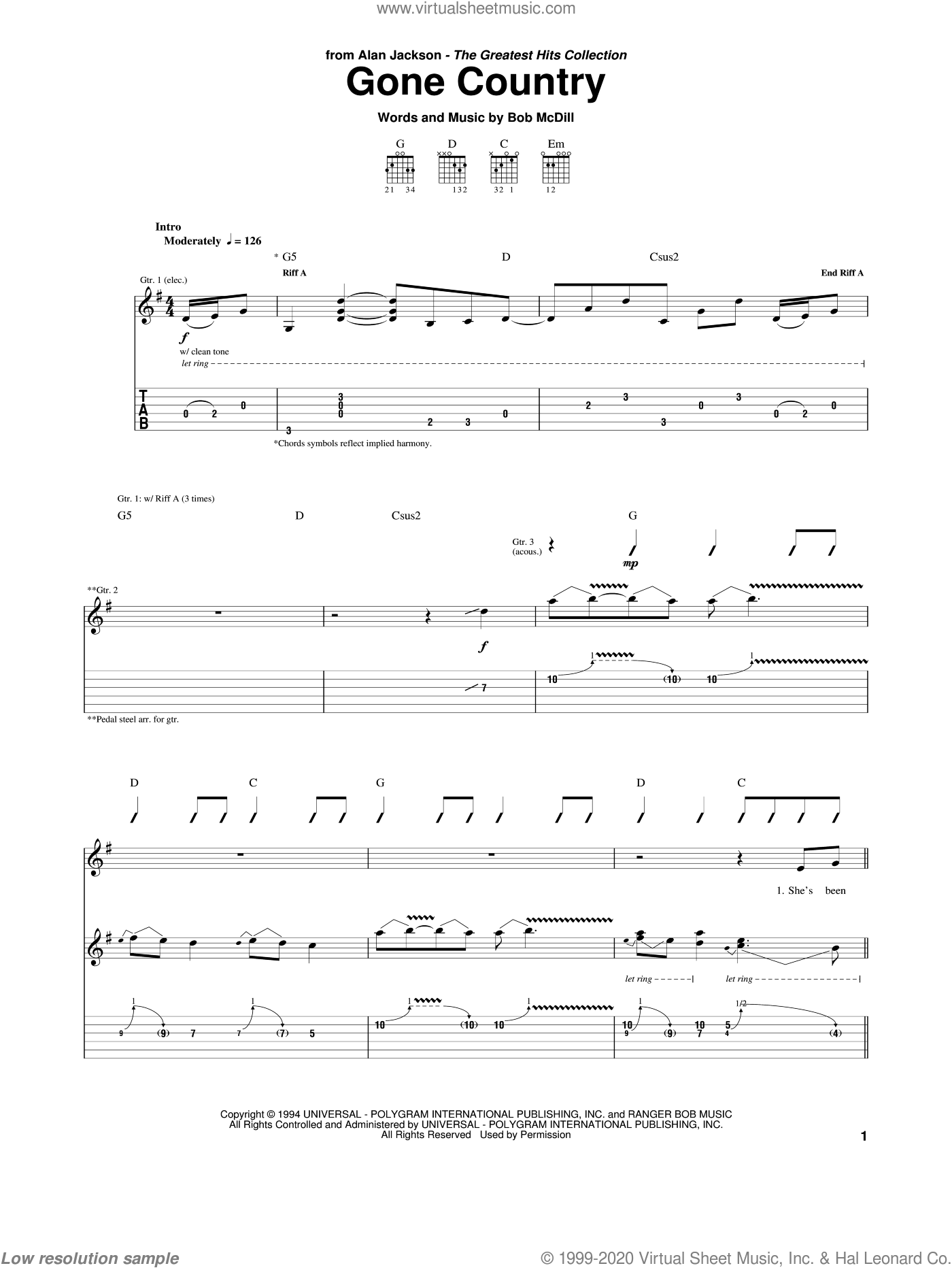 Gone Country sheet music for guitar (tablature) by Alan Jackson and Bob McDill, intermediate skill level