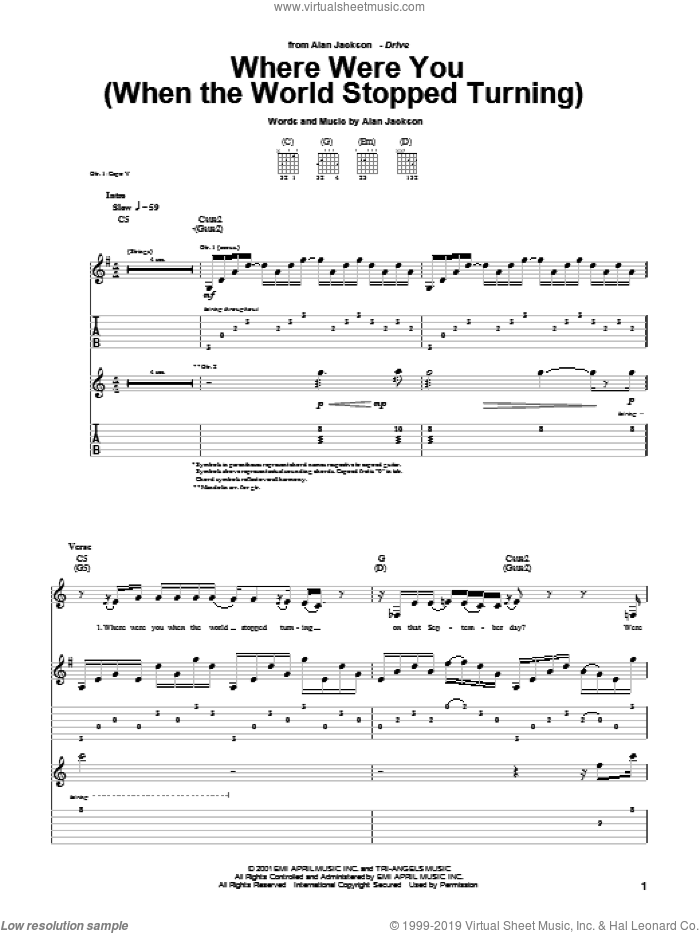 Where Were You (When The World Stopped Turning) sheet music for guitar (tablature) by Alan Jackson, intermediate skill level