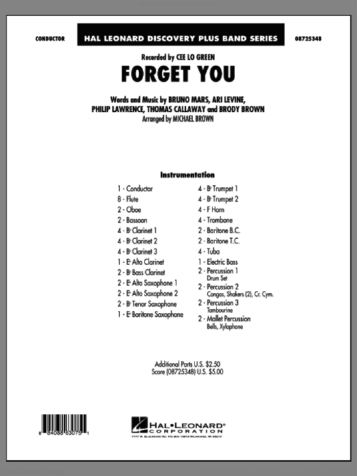 Forget You (COMPLETE) sheet music for concert band by Bruno Mars, Ari Levine, Brody Brown, Philip Lawrence, Thomas Callaway, Cee Lo Green and Michael Brown, intermediate skill level