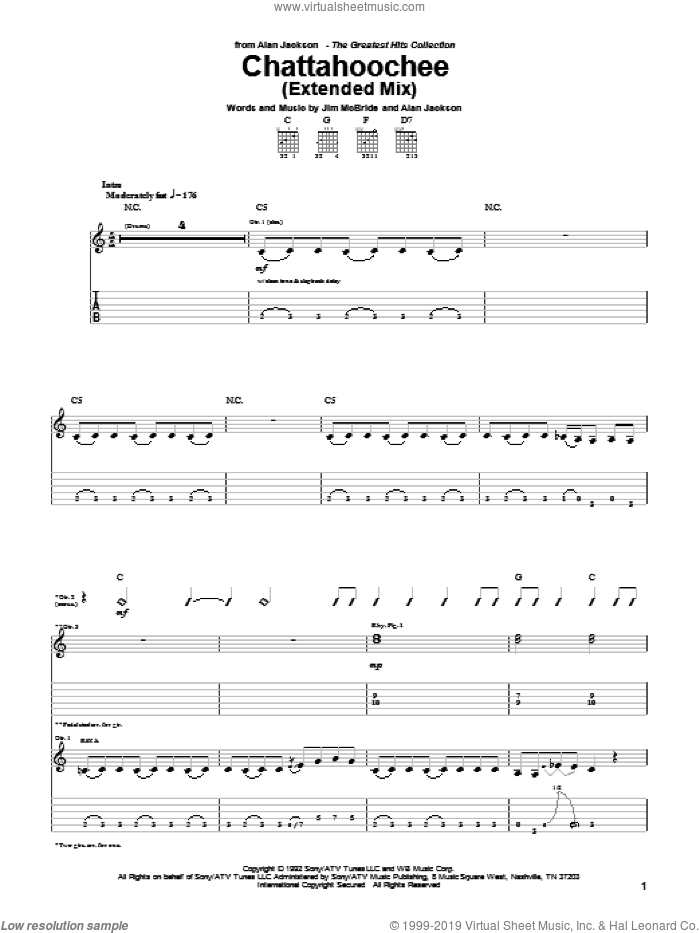Chattahoochee sheet music for guitar (tablature) by Jim McBride and Alan Jackson. Score Image Preview.