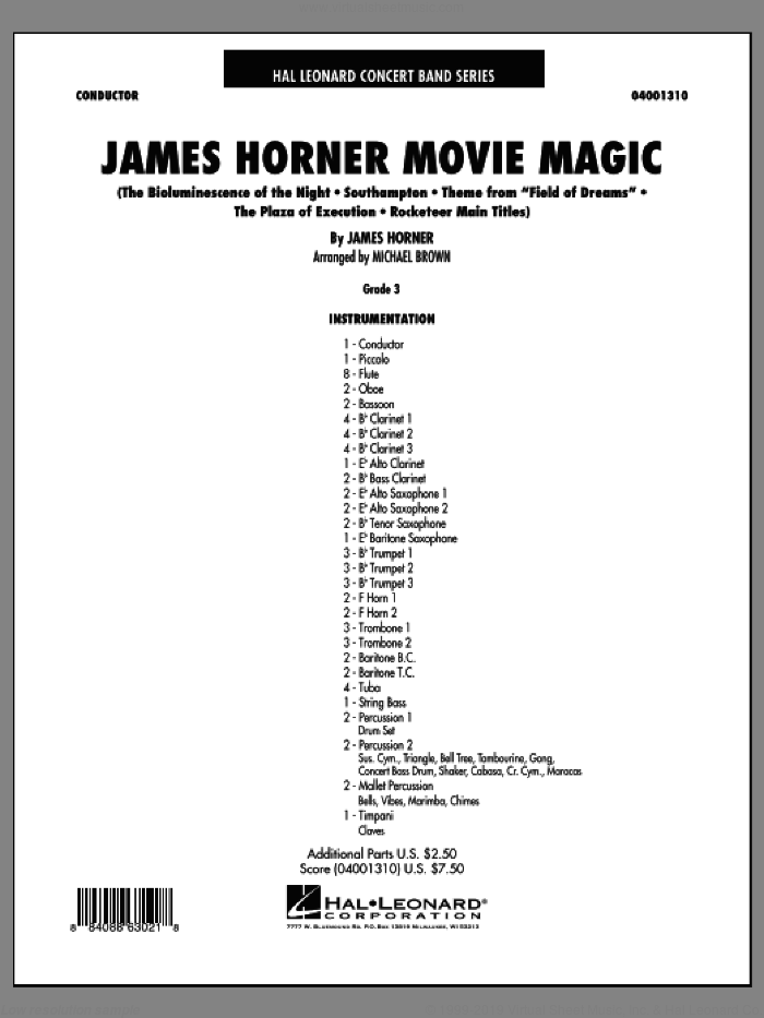 James Horner Movie Magic (COMPLETE) sheet music for concert band by James Horner and Michael Brown, intermediate. Score Image Preview.