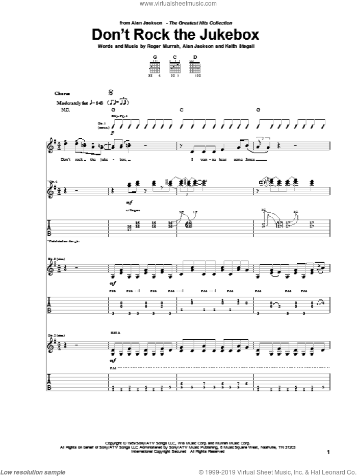 Don't Rock The Jukebox sheet music for guitar (tablature) by Roger Murrah, Alan Jackson and Keith Stegall. Score Image Preview.