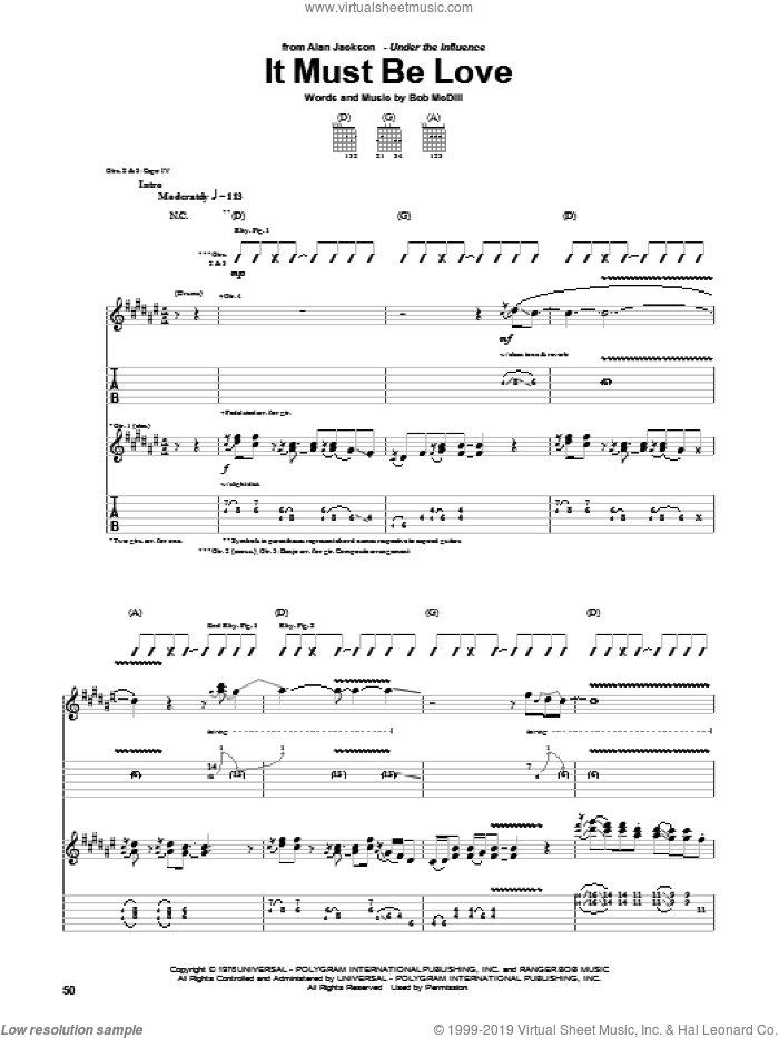 It Must Be Love sheet music for guitar (tablature) by Bob McDill