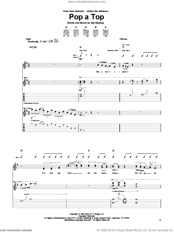 Pop A Top sheet music for guitar (tablature) by Alan Jackson, Jim Ed Brown and Nat Stuckey, intermediate skill level