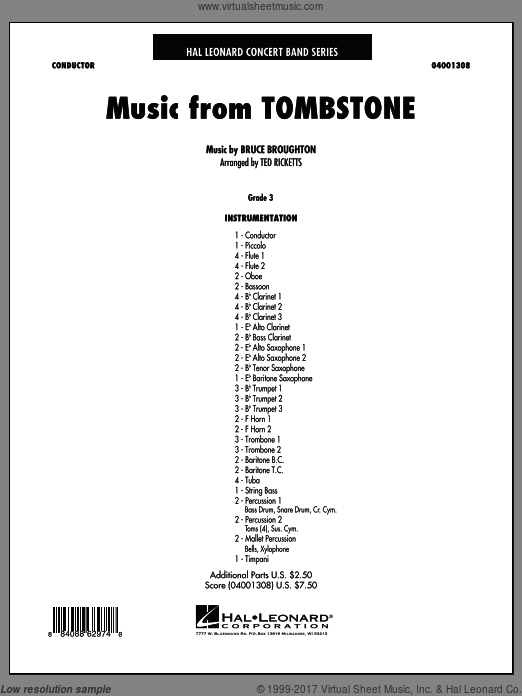 Music From Tombstone (COMPLETE) sheet music for concert band by Bruce Broughton