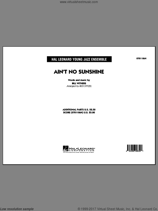 Ain't No Sunshine (COMPLETE) sheet music for jazz band by Rick Stitzel