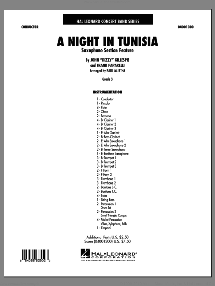 A Night In Tunisia (Saxophone Section Feature) (COMPLETE) sheet music for concert band by Dizzy Gillespie and Paul Murtha, intermediate. Score Image Preview.