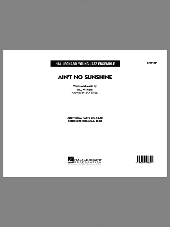 Ain't No Sunshine (COMPLETE) sheet music for jazz band by Bill Withers and Rick Stitzel, intermediate skill level