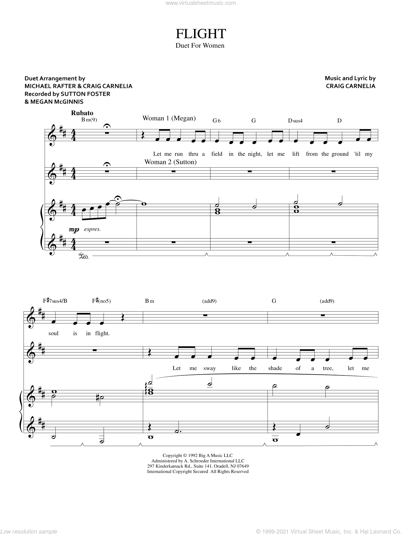 Flight sheet music for two voices and piano by Craig Carnelia