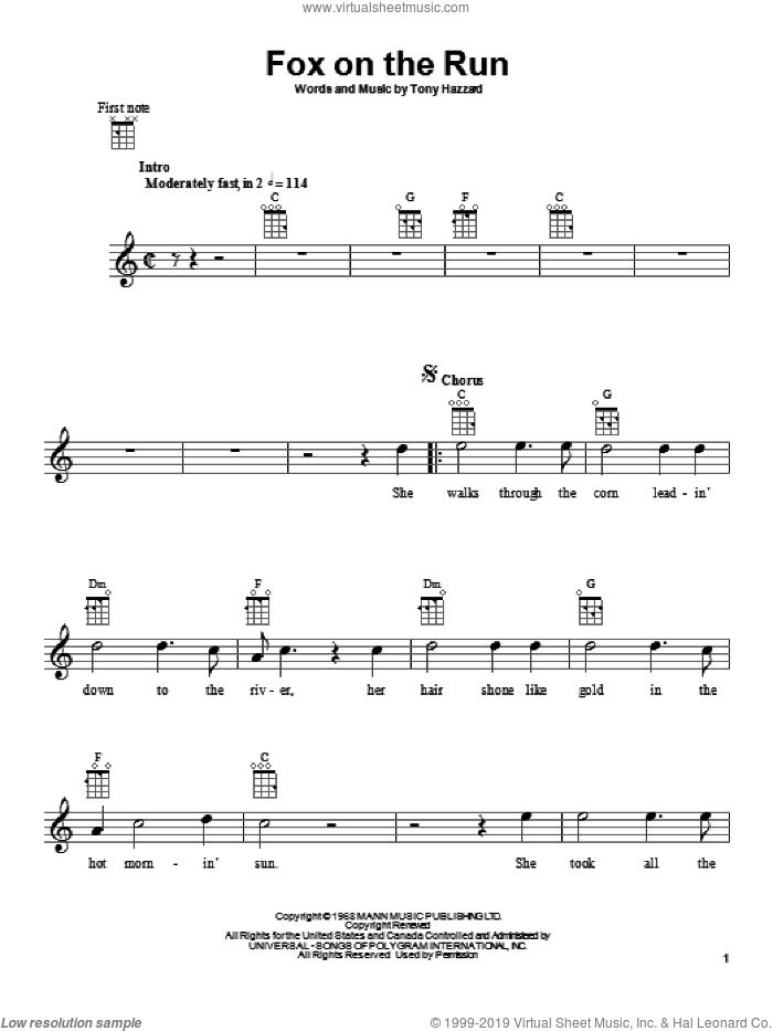 Fox On The Run sheet music for ukulele by Tony Hazzard. Score Image Preview.