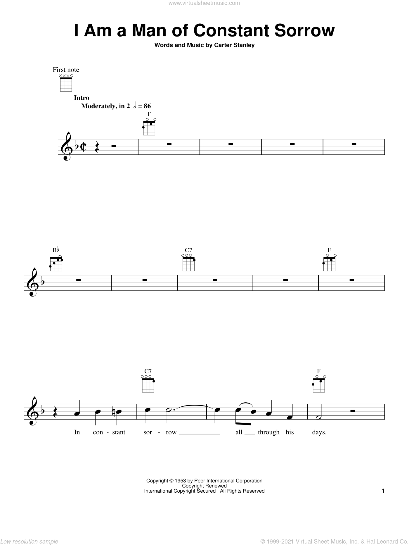 I Am A Man Of Constant Sorrow sheet music for ukulele by The Soggy Bottom Boys and Carter Stanley, intermediate ukulele. Score Image Preview.