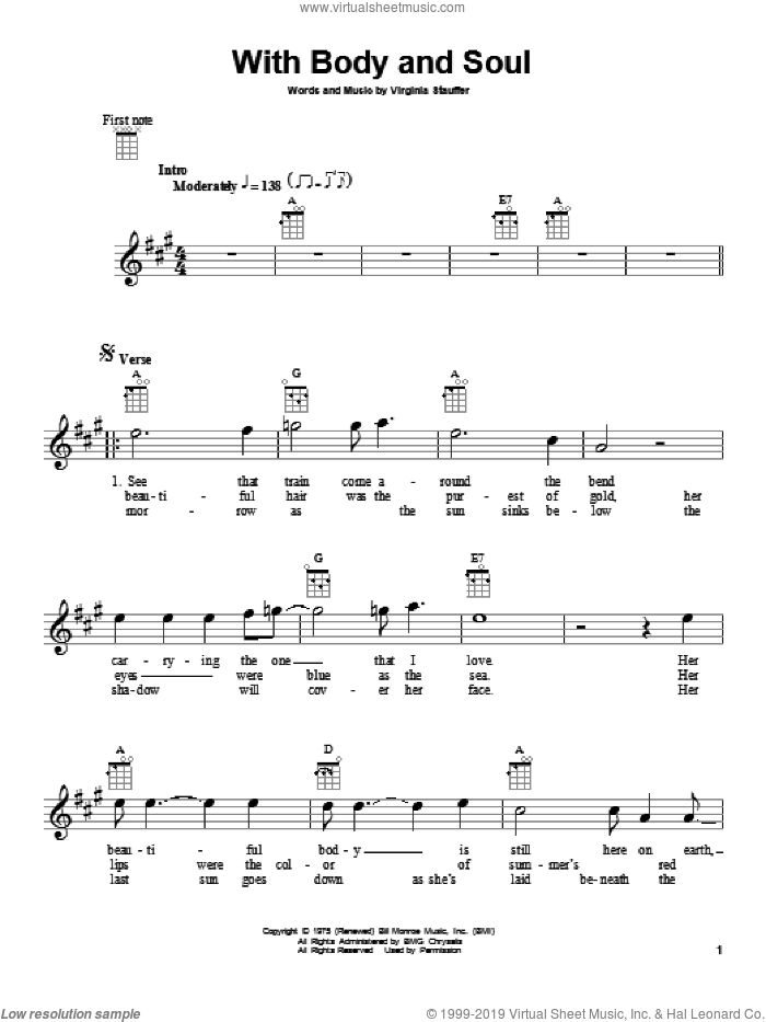With Body And Soul sheet music for ukulele by The Kentucky Headhunters. Score Image Preview.