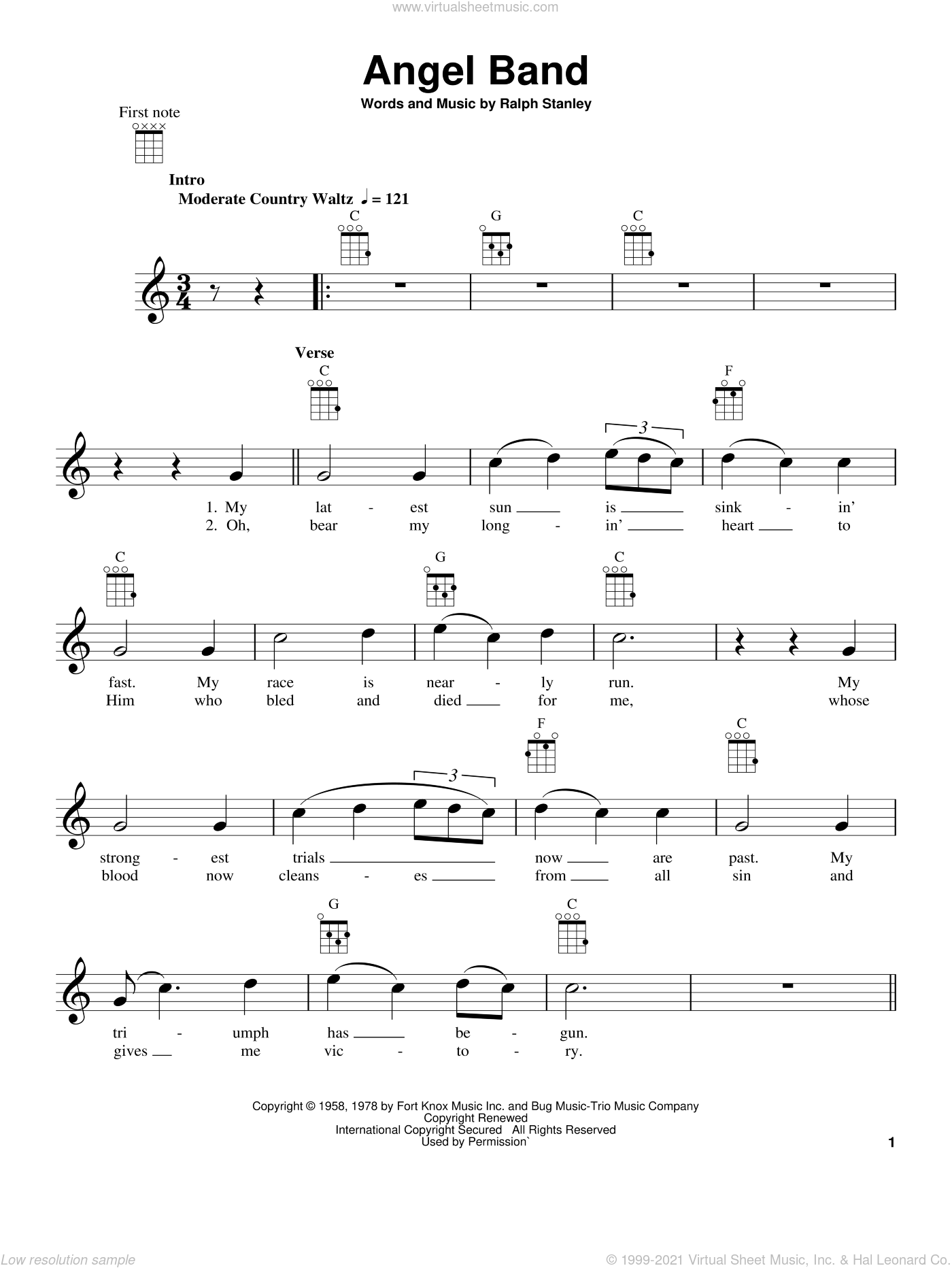 Angel Band sheet music for ukulele by The Stanley Brothers and Ralph Stanley, intermediate skill level