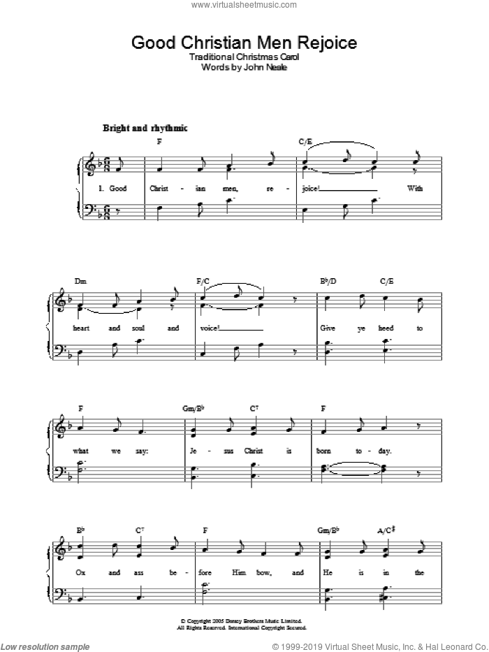 Good Christian Men, Rejoice sheet music for voice, piano or guitar by John Mason Neale and Miscellaneous. Score Image Preview.