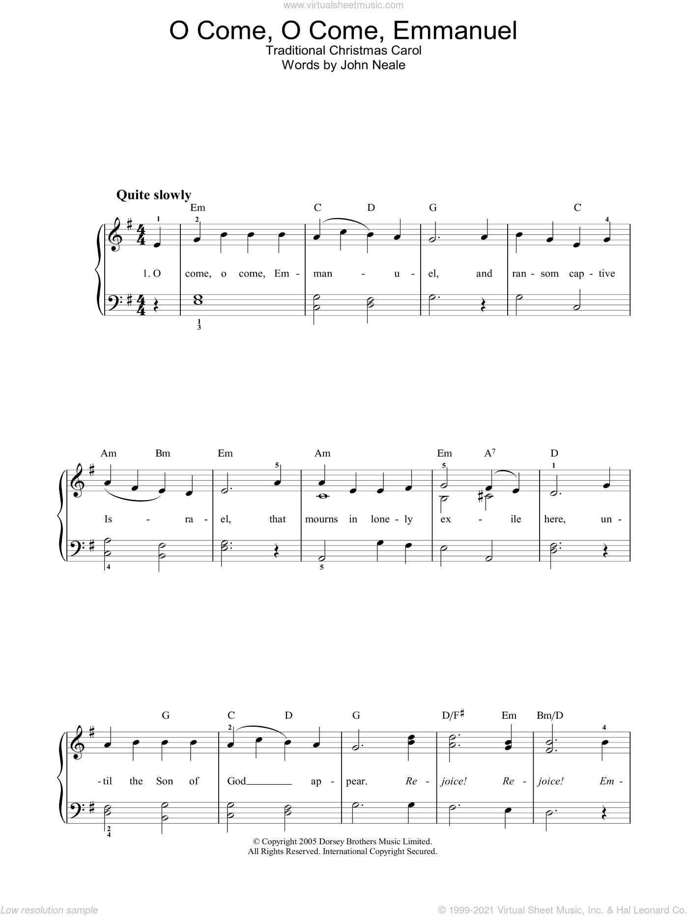 O Come, O Come Emmanuel sheet music for voice, piano or guitar by John Mason Neale and Miscellaneous, intermediate skill level