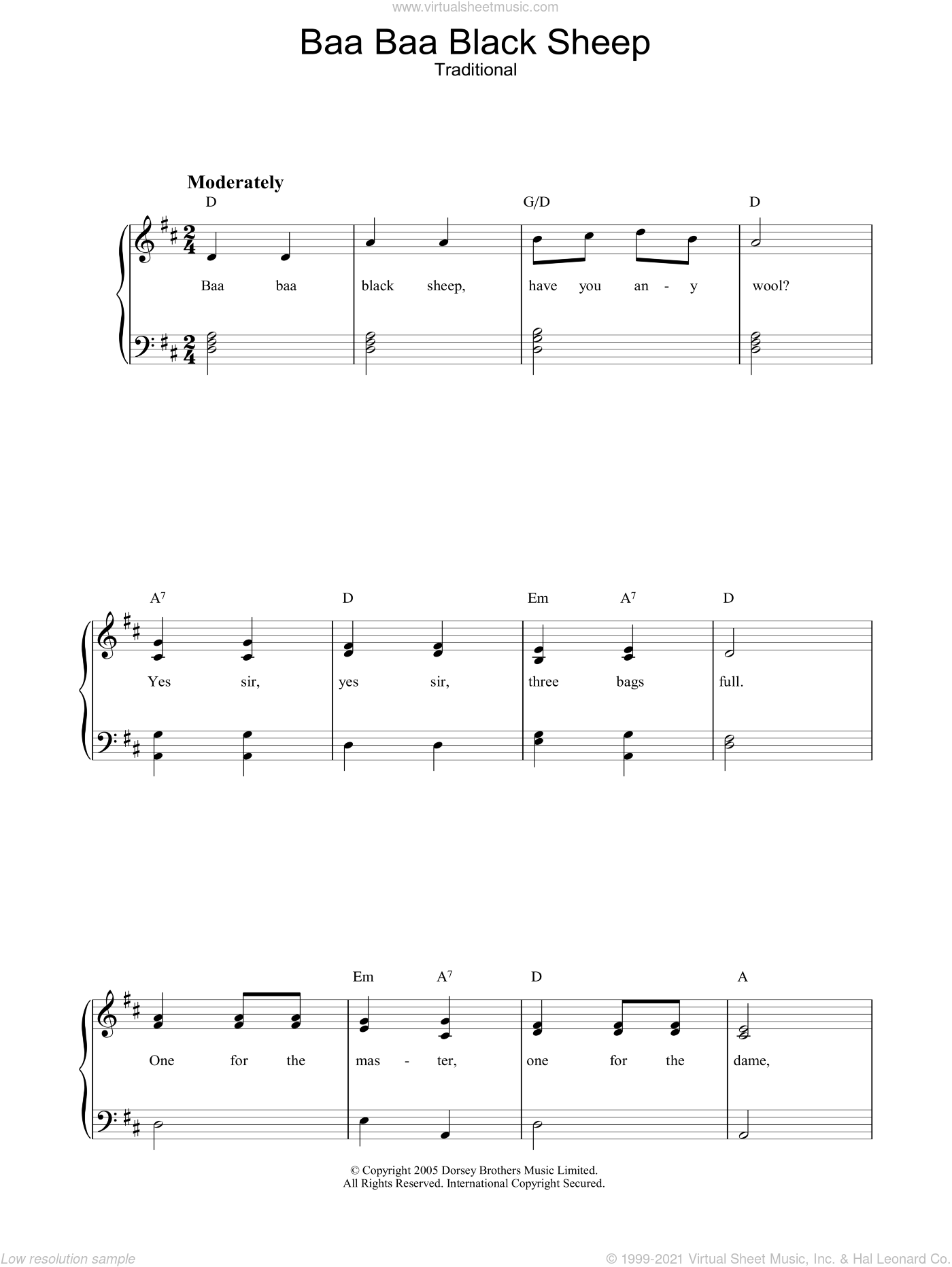 Baa Baa Black Sheep sheet music for voice, piano or guitar, intermediate. Score Image Preview.