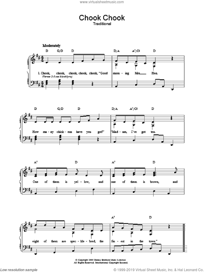 Chook Chook sheet music for voice, piano or guitar. Score Image Preview.