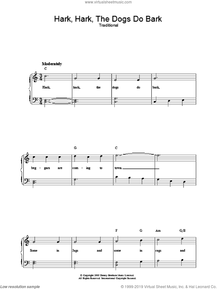 Hark Hark The Dogs Do Bark sheet music for voice, piano or guitar. Score Image Preview.