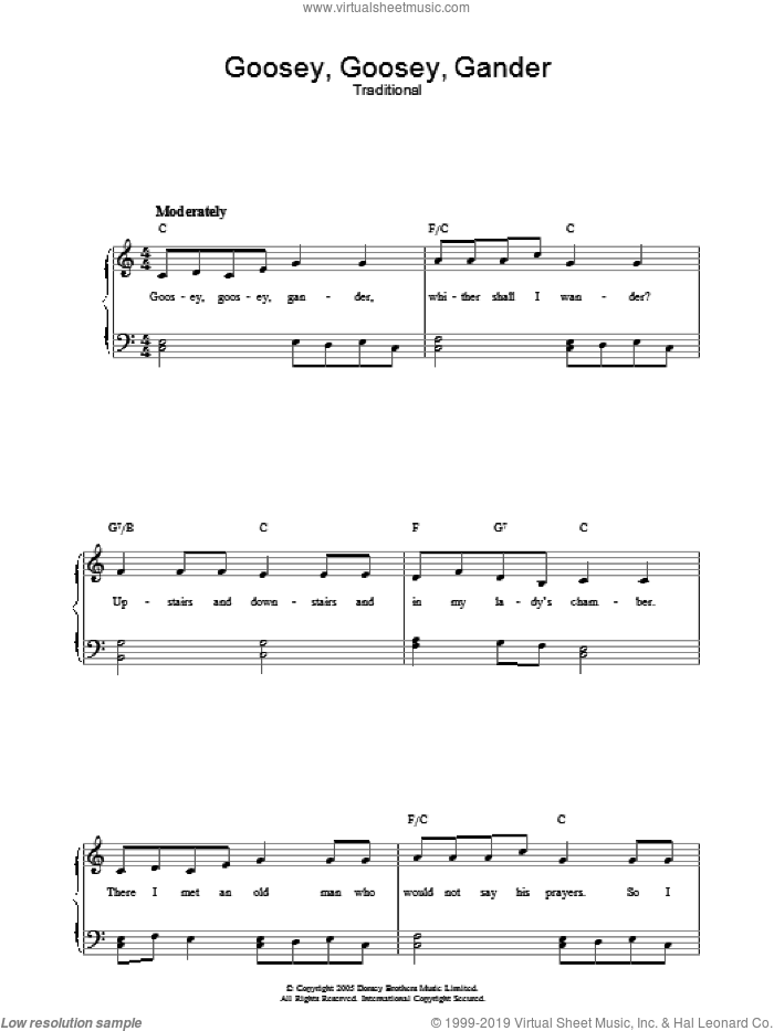 Goosey Goosey Gander sheet music for voice, piano or guitar, intermediate. Score Image Preview.
