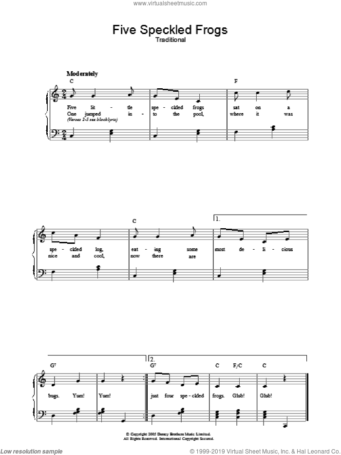 Five Little Speckled Frogs sheet music for voice, piano or guitar, intermediate. Score Image Preview.