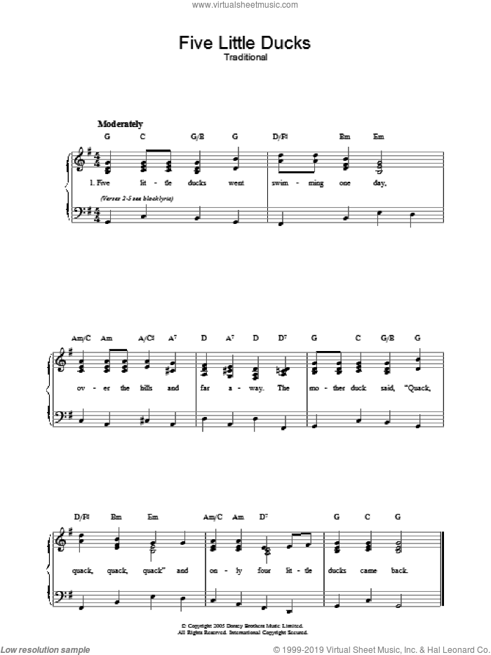 Five Little Ducks sheet music for voice, piano or guitar, intermediate. Score Image Preview.