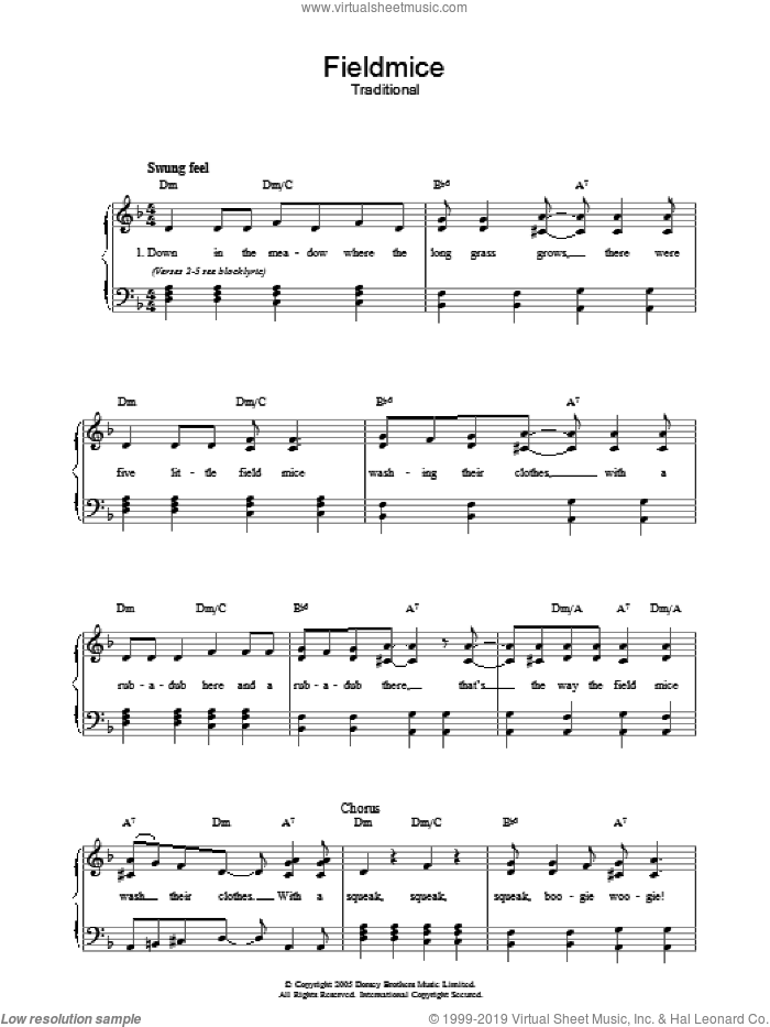 Fieldmice sheet music for voice, piano or guitar. Score Image Preview.
